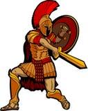 Спартанский талисман стоя с шпагой и экраном Стоковое Фото
