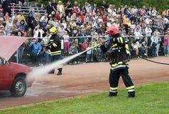 спасательные команды пожара действия Стоковые Изображения