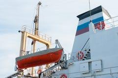 Спасательная шлюпка на корабле, Baltiysk, Россия Стоковое Изображение