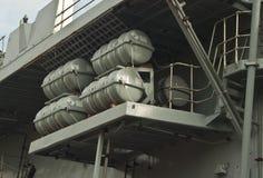 Спасательные плоты на военном корабле Стоковые Фотографии RF
