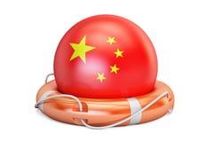 Спасательный пояс с флагом Китая, сейфом, помощью и защищает концепцию 3d Стоковые Изображения RF
