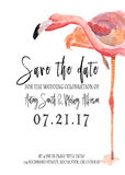 Спасение акварели карточка даты с фламинго Стоковое фото RF