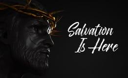 Спасение здесь статуя Иисуса Христоса с кроной золота терниев иллюстрация вектора
