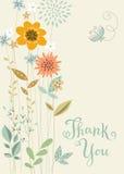 Спасибо вертикальная флористическая карточка Стоковая Фотография RF