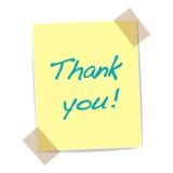 Спасибо желтый стикер Стоковые Изображения