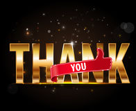Спасибо, золотое оформление с большими пальцами руки поднимает знак Стоковое Изображение RF