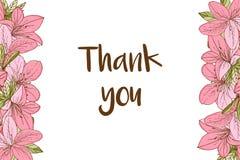 Спасибо карточка с азалией в стиле нарисованном рукой стоковое фото rf
