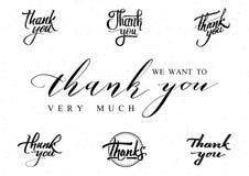 Спасибо - карточку, предпосылку, литерность, каллиграфию, стикер можно использовать для вашего дизайна Стоковое фото RF