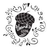 Спасибо печати жолудей уступая черный стиль Официальный праздник в США в память первых колонистов Массачусетса вектора с абстракт бесплатная иллюстрация