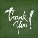 Спасибо поздравительная открытка чертежа руки мела над зеленой доской иллюстрация штока