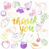 Спасибо помечать буквами и плодоовощи Стоковая Фотография
