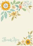 Спасибо флористическая карточка Стоковое Изображение