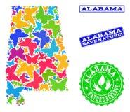 Спасительный коллаж природы карты государства Алабамы с бабочками и уплотнениями Grunge иллюстрация штока