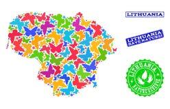 Спасительный коллаж природы карты Литвы с бабочками и резиновыми водяными знаками иллюстрация вектора