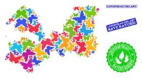 Спасительный состав природы карты области Ленинград с бабочками и печатями Grunge иллюстрация штока