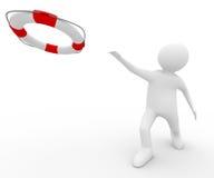 Спаситель с lifebuoy кольцом на белой предпосылке Стоковое Изображение