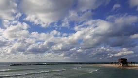 Спасите будочку, берег Средиземного моря, рыболова, Хайфу, Израиль Стоковая Фотография RF
