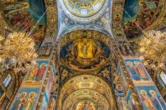 спаситель церков крови Красивое platfond мозаики с a с библейским рассказом Стоковое Изображение
