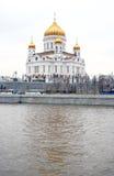 спаситель moscow России церков christ Отражение воды Стоковое Изображение RF
