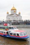 спаситель moscow России церков christ Шлюпка круиза Стоковое фото RF