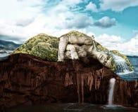 Спать женщина - тропический остров в отрезке иллюстрация вектора