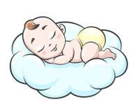 Спать младенец на облаке иллюстрация штока