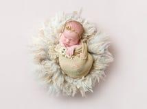 Спать младенца swaddled с игрушкой кролика, topview стоковая фотография