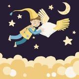 спать подушки летания мальчика Стоковая Фотография