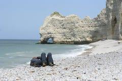 спать пляжа Стоковая Фотография