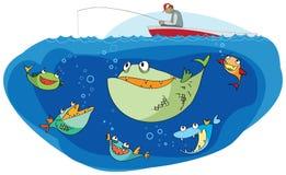 спать рыболова рыб иллюстрация вектора