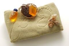 спа мыла бежевой пемзы ноги установленная Стоковые Фото