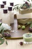 спа мыла оливки установленная Стоковые Фото