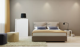 Спальня дизайна в теплой тонне Стоковые Фотографии RF