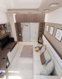 Спальня молодого человека, дизайн интерьера, представляет 3D Стоковые Изображения RF
