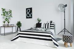 Спальня с заводами и лампой стоковые фотографии rf