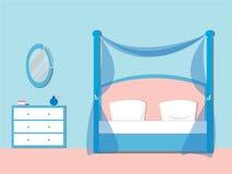 Спальня с мебелью Комод ящиков с зеркалом плоско иллюстрация вектора