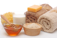 спа oatmeal молока меда стоковое изображение rf