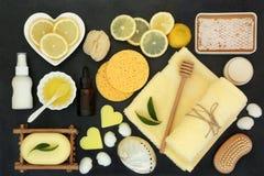 Спа Skincare лимона и косметическая процедура стоковое изображение