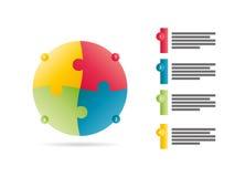 Спектр радуги покрасил шаблон представления головоломки infographic при объясняющее поле текста изолированное на белой предпосылк Стоковые Фото