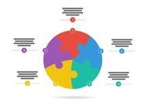 Спектр радуги покрасил шаблон представления головоломки infographic при объясняющее поле текста изолированное на белой предпосылк Стоковая Фотография