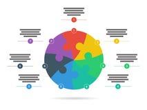 Спектр радуги покрасил шаблон представления головоломки infographic при объясняющее поле текста изолированное на белой предпосылк Стоковые Изображения