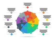 Спектр радуги покрасил шаблон представления головоломки infographic при объясняющее поле текста изолированное на белой предпосылк Стоковое Фото