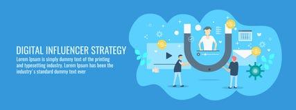 Специалисты по маркетингу Influercer работая на включать глобальную аудиторию для осведомленности о торговой марке Плоское знамя  иллюстрация штока