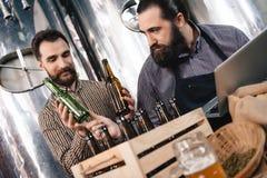 Специалист по винзавода выбирает бутылку для следующий разливать по бутылкам пива на винзаводе ремесла Стоковая Фотография