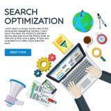 Специалист рабочего места в SEO Элементы и маркетинг аналитика сети Развитие вебсайта, оптимизирование поисковой системы Взгляд с Стоковая Фотография