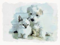 Специальная влюбленность между котом и собакой иллюстрация вектора
