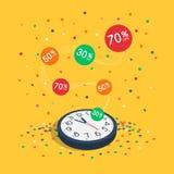Специальный символ продажи ограниченного времени с вахтой стены, красочными ярлыками летая и confetti летая Стоковая Фотография