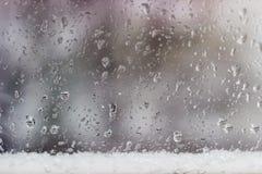 Специализированная часть окна во время дождя с sleet Стоковая Фотография RF