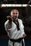 Специалист бойца Тхэквондо с позицией боя Стоковые Изображения