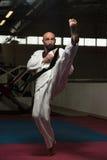 Специалист бойца Тхэквондо с позицией боя Стоковые Фотографии RF